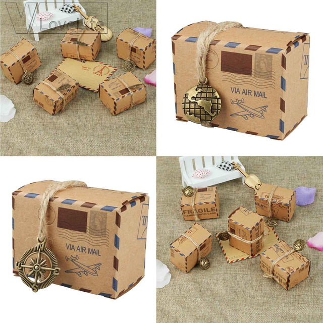 50pcs Air Mail Plane Kraft Candy Box Paper Bag Wedding Favour Boxes Gift Birthday For