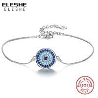 ELESHE классический синий счастливый глаз микро Кристалл Шарм браслет стерлингового серебра 925 жесткий браслет цепочка Femme Свадебные украшени