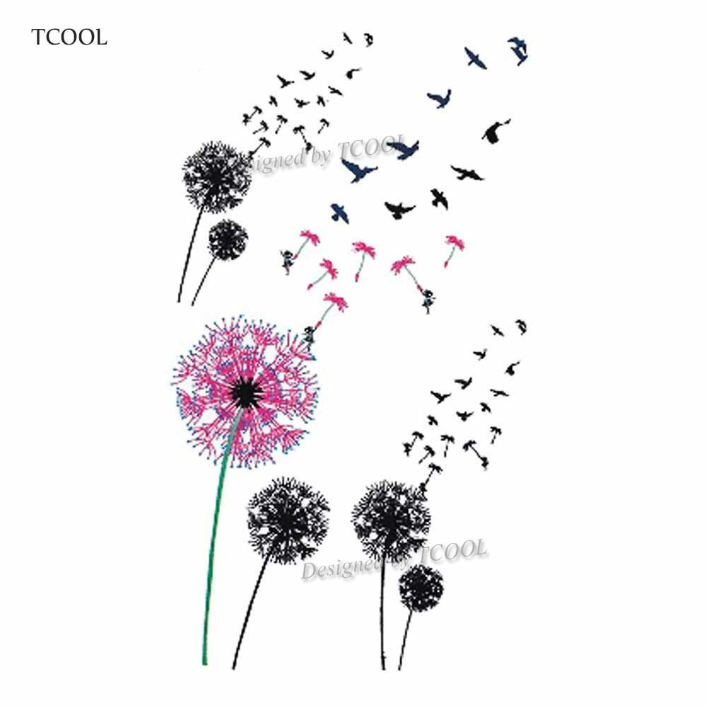 TCOOL Dandelion Waterproof Temporary Tattoo Sticker Fashion Women Men Arm Fake Body Art 10.5X6cm Kids Adult Hand Tattoos P-132