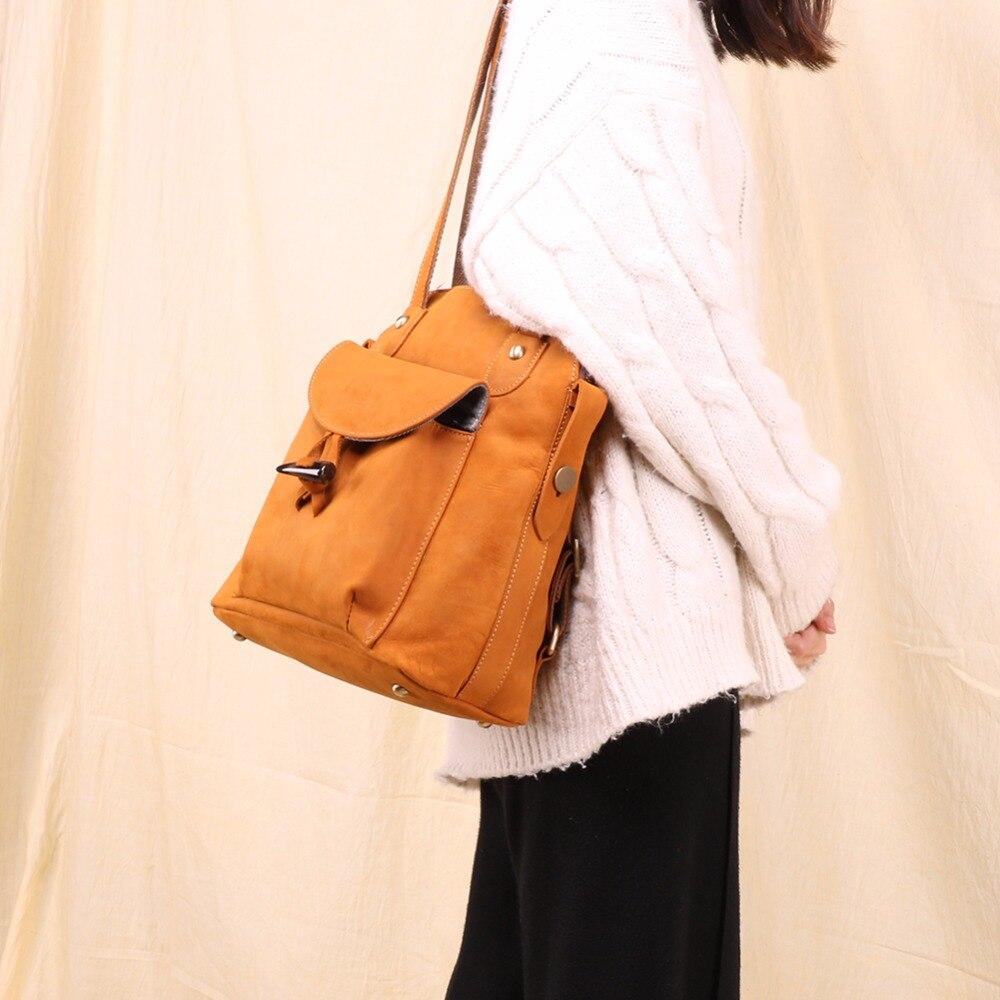 JOYIR di Modo Del Cuoio Genuino delle donne zaino dell'annata marrone della ragazza della scuola del sacchetto di spalla zaini signore di shopping borse da viaggio 3011 - 5