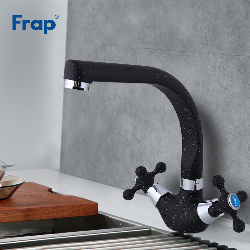 Frap NEW Multicolor Spray Painting Kitchen Sink Faucet Cold And Hot Water Mixer Tap Double Handle 360 Rotation F5408-7