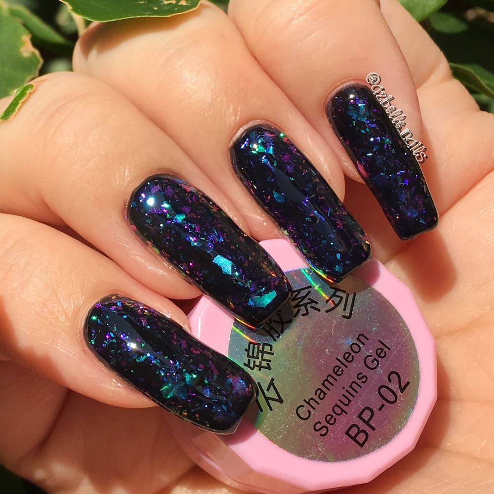 BORN PRETTY Transparent Chameleon Glitter Gel Iridescent Flakes Soak ...