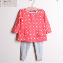 Fashion children clothing kids girls set spring new product children's wear 2pcs/set cotton blouse + pants toddler girls suit