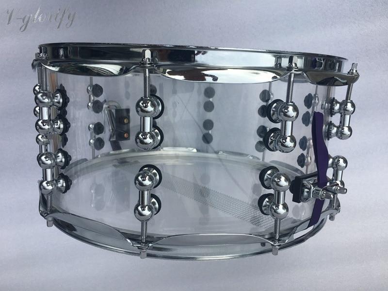 ᗕ14*6,5 transparent acryl snare drum mit 2mm hoop - a737