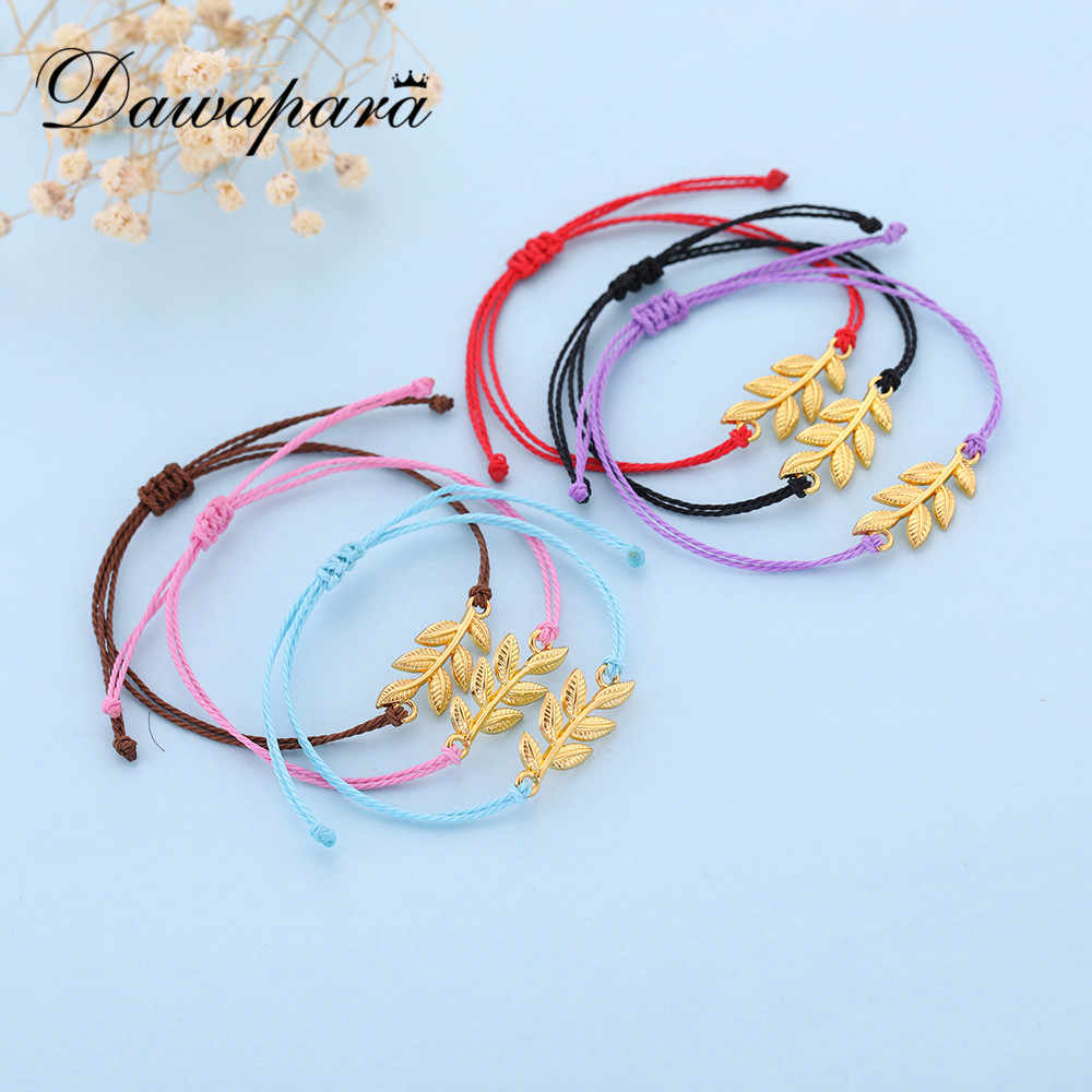 Dawapara Korean Wax Cord Handmade Adjustable  Bracelet Simple Colorful Palette Pendant Bracelet For Women Jewelry Gift B109706