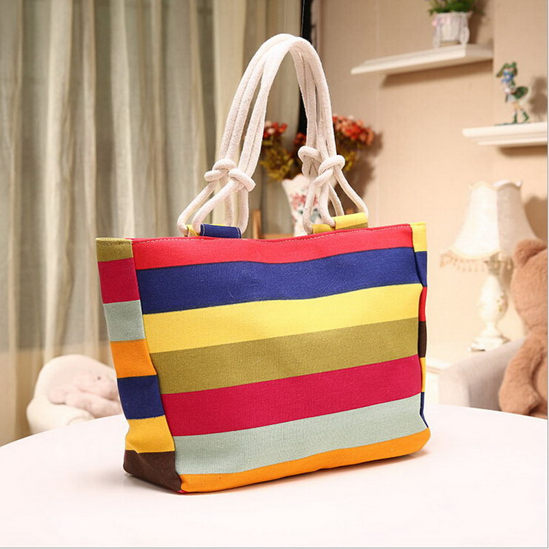 New Summer Canvas Shopper Bag Striped Rainbow Candy Prints Beach Bags Handbag To