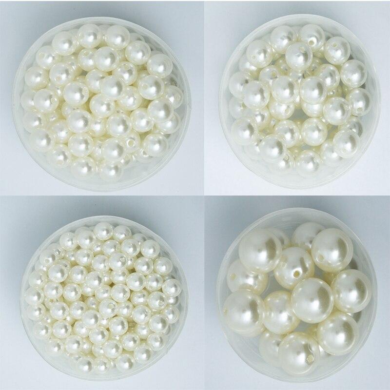 Мм 4-20 мм жемчуг Кабошон Круглый Белый Ivoy жемчуг имитация ABS бусины ювелирные изделия DIY чехол для телефона высокое качество