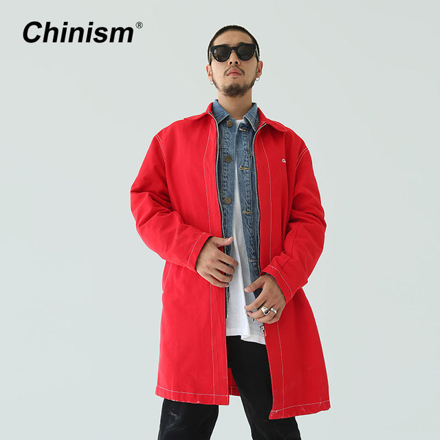 CHINISM Brand Solid Loose Long Trench Coat Top Quality Black Red Men Overcoat Trench Windbreaker Jacket Mens Casual Overcoat
