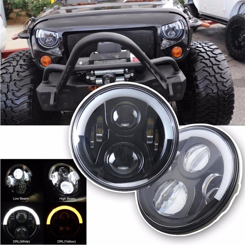 TNOOG 60W 7inch LED Headlight for Jeep Wrangler JK Headlamp with Halo Angel Eye & Turn Signal Lights & DRL marloo pair 7 led headlight for jeep wrangler jk headlamp with halo angel eye