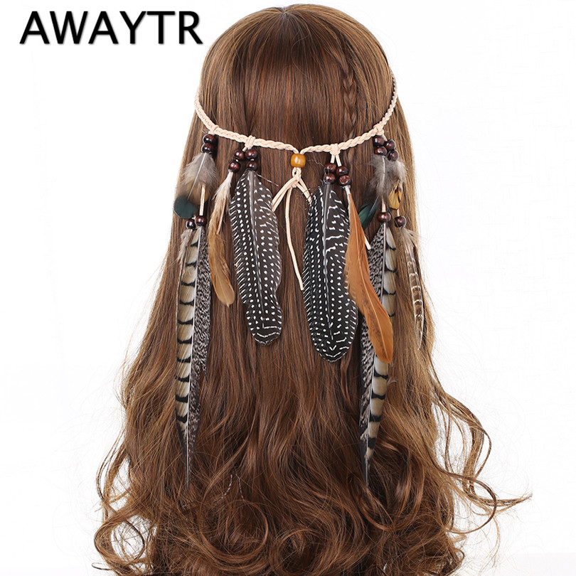 Indian Feather Headband AWAYTR Hårtillbehör 2019 Festival Women Hippie Justerbar Headdress Boho Peacock Feather Hair Band
