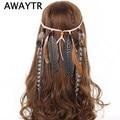 Indian Feather Headband AWAYTR Hair Accessories 2019 Festival Women Hippie Adjustable Headdress Boho Peacock Feather Hair Band