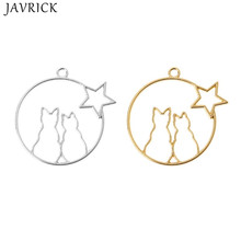 5Pcs Cute Moon Cat Blank Resin Frame Pendant Open Bezel Setting Jewelry Making
