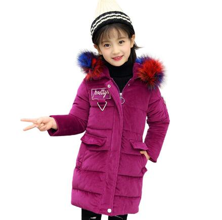 Girls Parkas Wadded Jacket Winter Coat Children Fashion Big Fur Collar Solid Thick Cotton Jacket Kids Hooded Outerwear