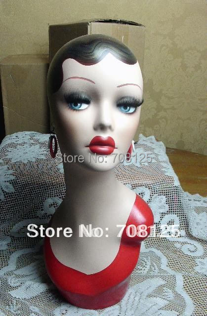 Vintage Hand Painted Earring Mannequin Head For Jewelry And Hat Display