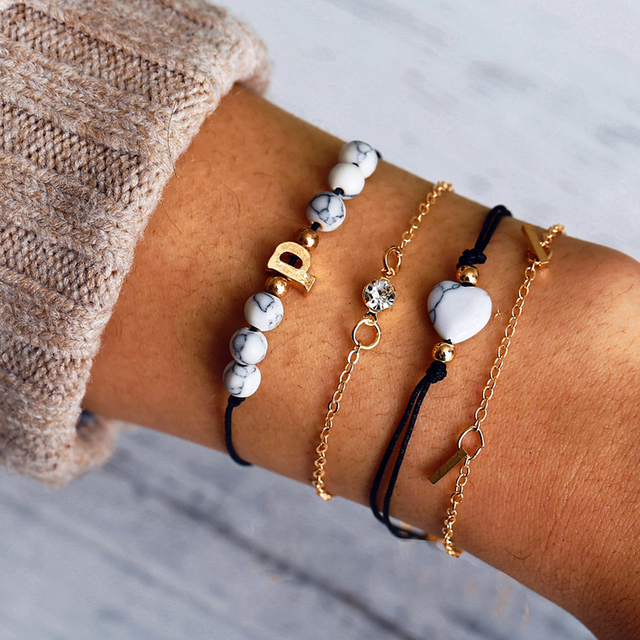 Fashion Bohemian Multilayer Charm Bracelets Bangles Set For Women Fashion Gold Color Strand Bracelets Sets Jewelry Party Gifts