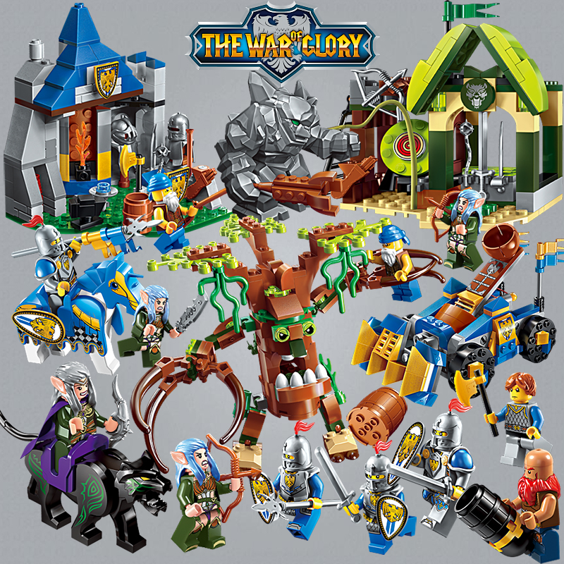 Enlighten Glory War Educational Building Blocks Toys For Children Gift Castle Knight Heroes Weapon Elf Giant Treant Catapult 128pcs military field legion army tank educational bricks kids building blocks toys for boys children enlighten gift k2680 23030