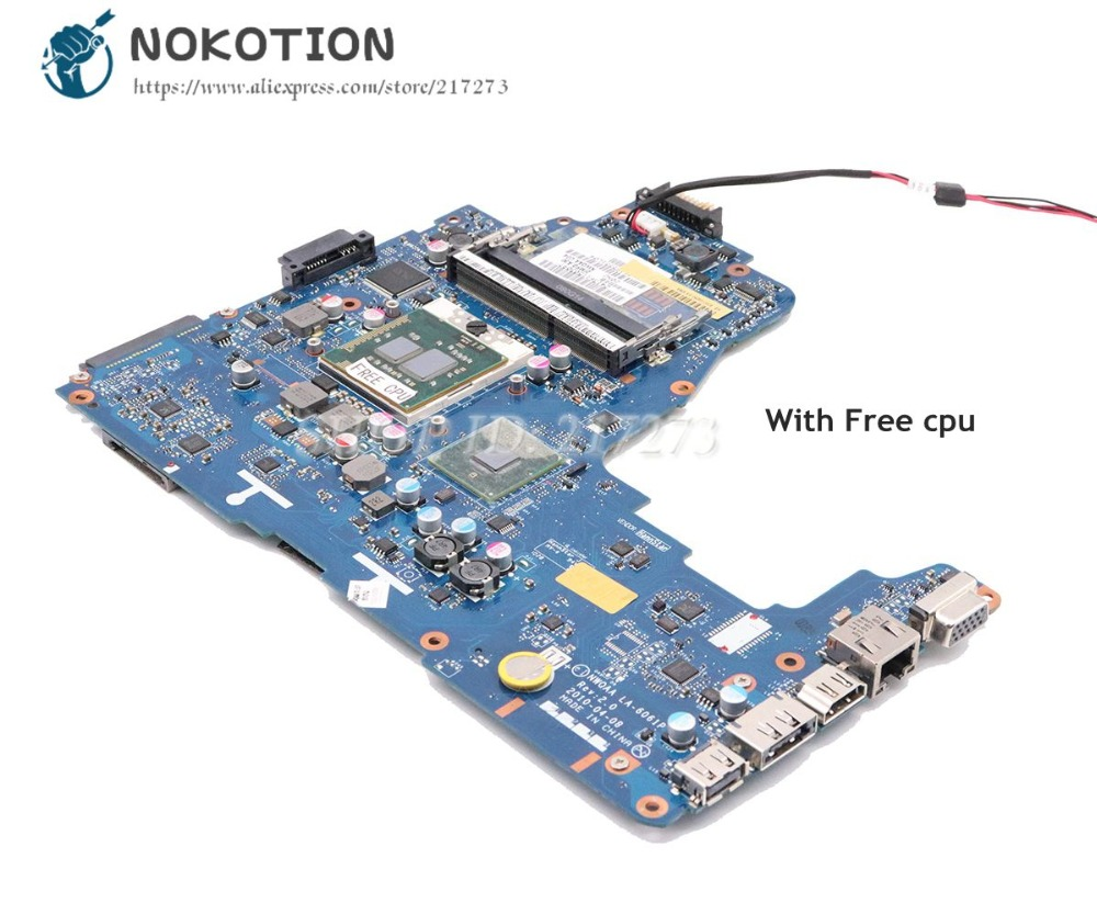 NOKOTION For Toshiba Satellite A660 A665 Laptop Motherboard HM55 DDR3 K000104270 K000104250 NWQAA LA-6061P Free cpuNOKOTION For Toshiba Satellite A660 A665 Laptop Motherboard HM55 DDR3 K000104270 K000104250 NWQAA LA-6061P Free cpu