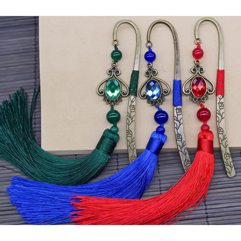 Office & School Supplies 2pcs Set Ethnic Wind Retro Manual Metal Bookmark With Colored Jade Red And Green Fringe Reading Gift Prize Presents Hairpin Top Watermelons Labels, Indexes & Stamps