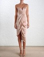 PADEGAO Elegant Empire Waist Sexy Strapless Strap Satin Dress 2016 Australia Ladies Asymmetric Hem Women S