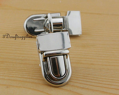 purse lock wallet Thumb latch tongue clasp silver 1 inch x 1 1/2 inch N7
