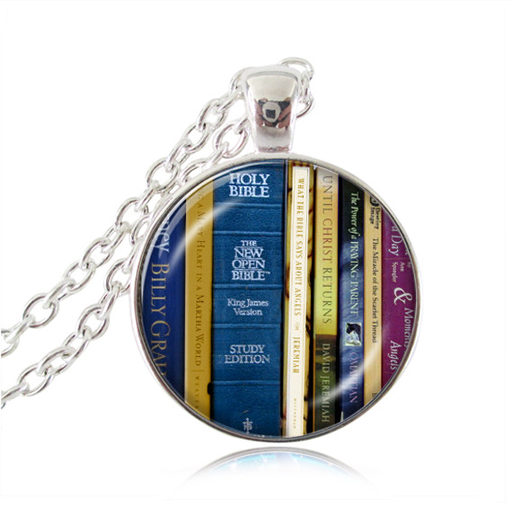 537f3371ce3 Library book necklace Bible Books Pendant glass dome Jewelry Christian necklaces  Librarian