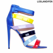 Womens Fashion Handmade 11cm High Heel Patchwork Leather Summer Party Sandals Shoes XD085