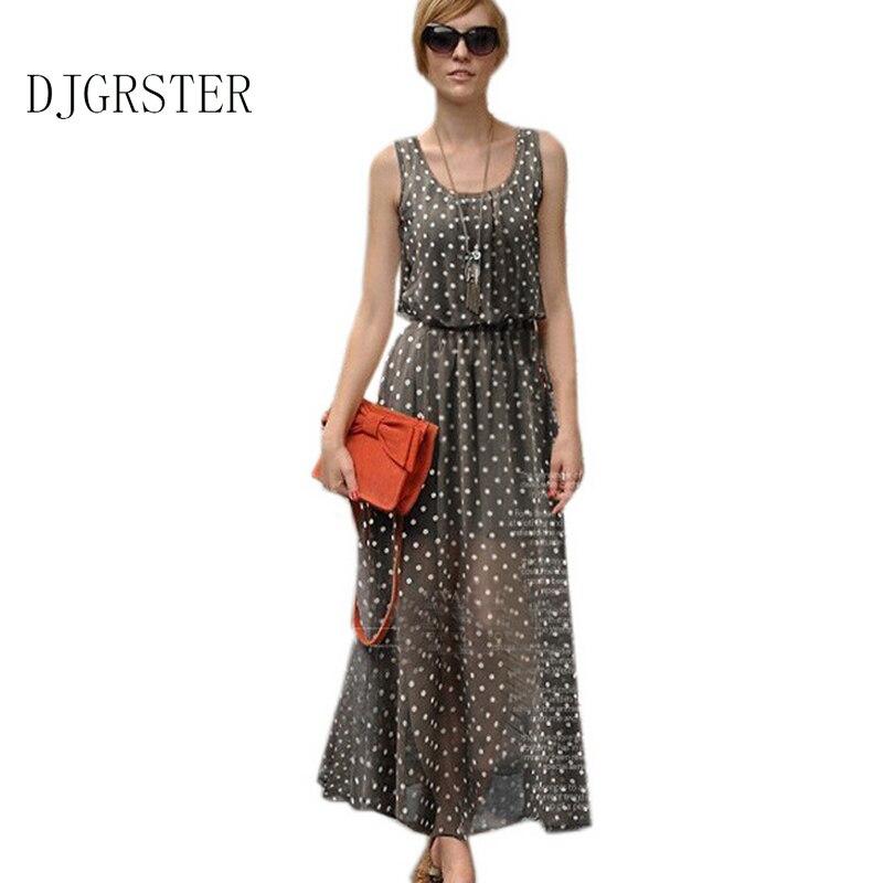 DJGRSTER 2018 Fashion Womens polka dots Maxi dress long Casual Summer Beach Chiffon Party Dresses style cheap vestidos de festa