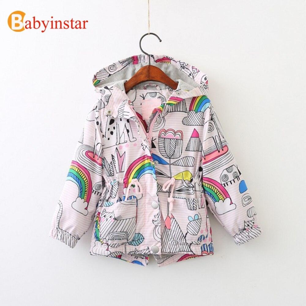 Babyinstar Novo 2018 Boutique Traje para As Crianças Jaqueta Com Capuz Casacos Criança Padrão Outfits da Menina Casual Tops Para Crianças