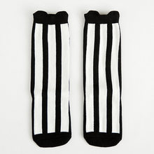 Children's Black and White Striped Socks Cotton Knee Socks for Boys Girls Student Leisure Sports Shoes Socks(China)