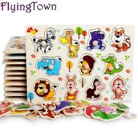 Zoo Animals Wooden Puzzles For Children 2 4 Years Old 3d Puzzle Jigsaw Board Educational Toys