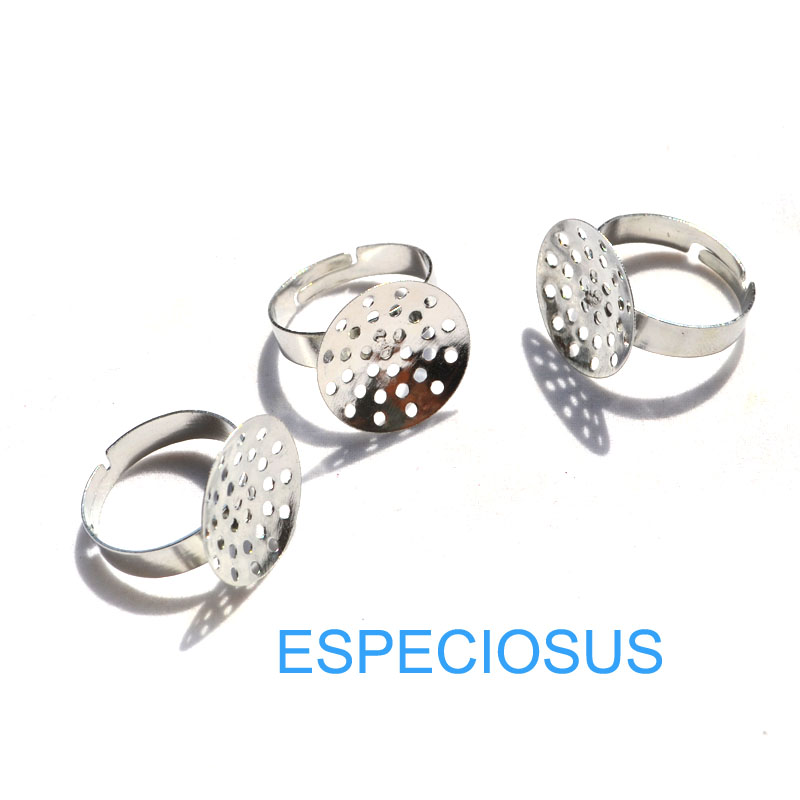 DIY Fashion Jewelry Accessory Adjustable Ring Settings Rhodium Plated 18MM Metal Ring Holder Knit Ring Making Findings 20pcs