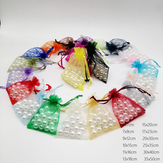 1000pcs Mixing Gift Bags For Jewelry Bags And Packaging Organza Bag Drawstring Bag Wedding/Woman Travel Storage Display Pouches