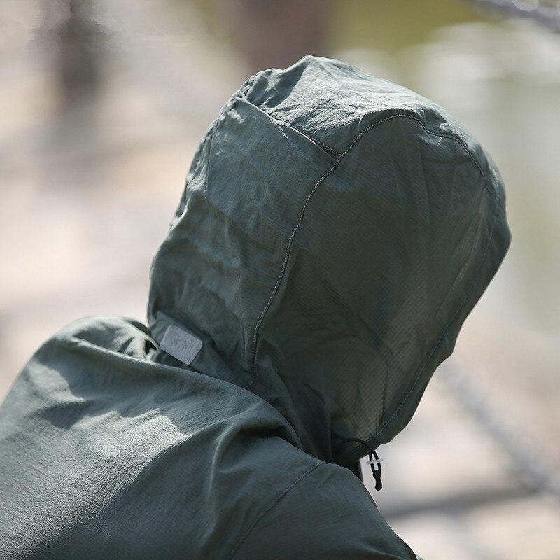 uv respirável com capuz blusão casaco tático topos