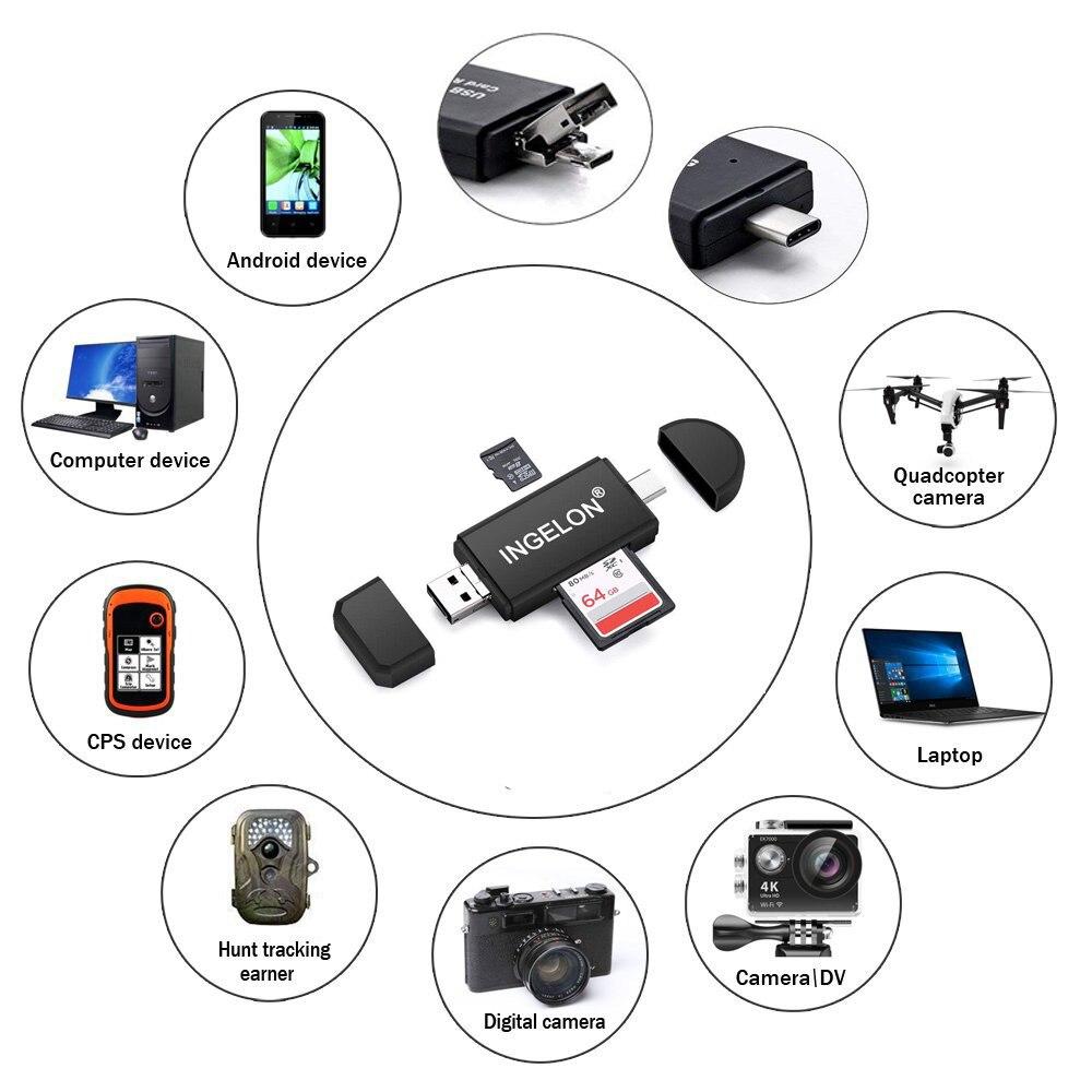 Image 4 - Ingelon Универсальный кардридер USB C OTG TF SD кард ридер microsd MMC Android Компьютерный удлинитель адаптер для камеры считыватель SD карт-in Считыватели карт памяти from Компьютер и офис