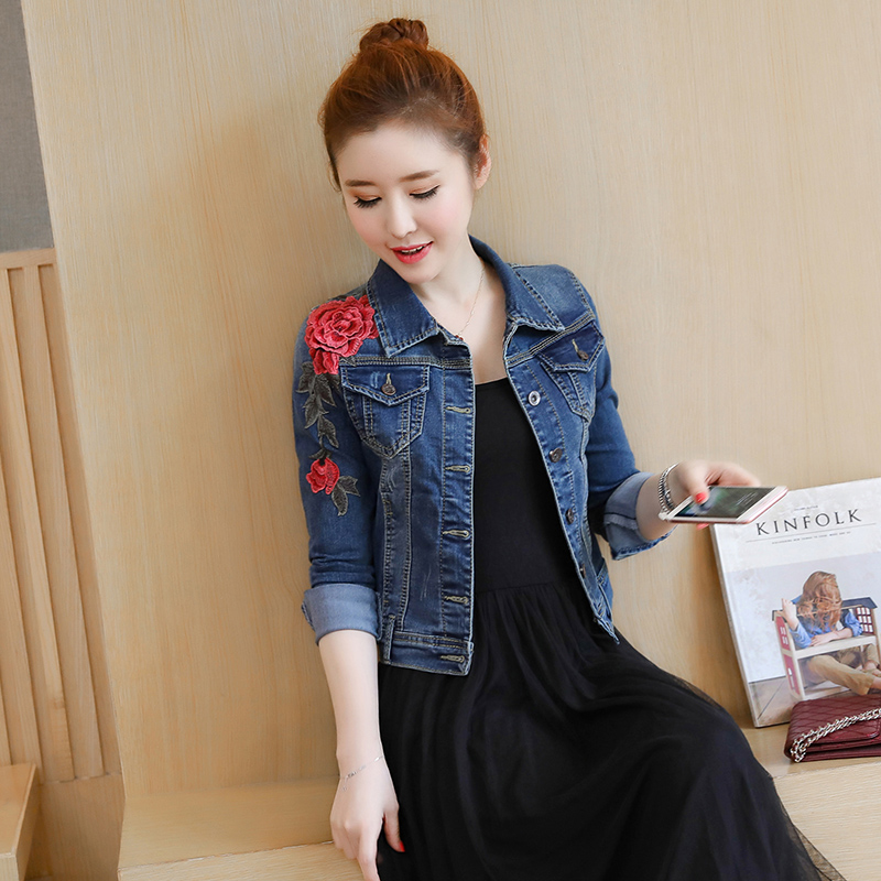 2018 Autumn New Jean Jacket Women Blue 3d Rose Flower Embroidered
