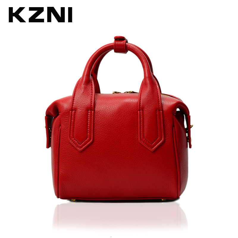 KZNI Women Bags Female Genuine Leather Purses and Handbags Top-handle Crossbody Shoulder Clutch Bags Pochette 1407 kzni genuine leather shoulder bags female purses and handbags fashion handbags 2017 crossbody bags for women sac a main 9008