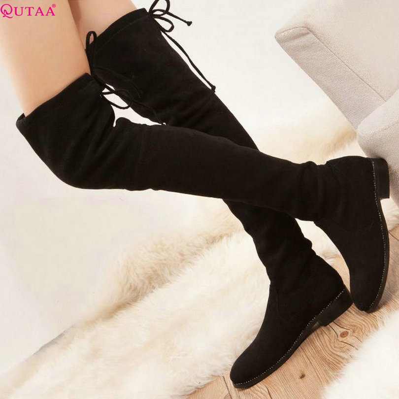 ФОТО QUTAA 2017 Square Low Heel Woman Stretch Fabric Over The Knee Boots Women Shoes Bow Tie Ladies Motorcycle Boots Size 34-43