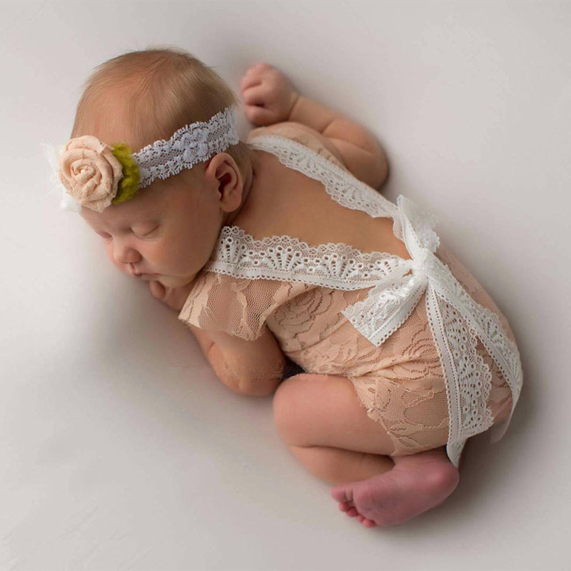 New Newborn Photography Props Costumes Baby Knitted Lace Romper Princess Clothes