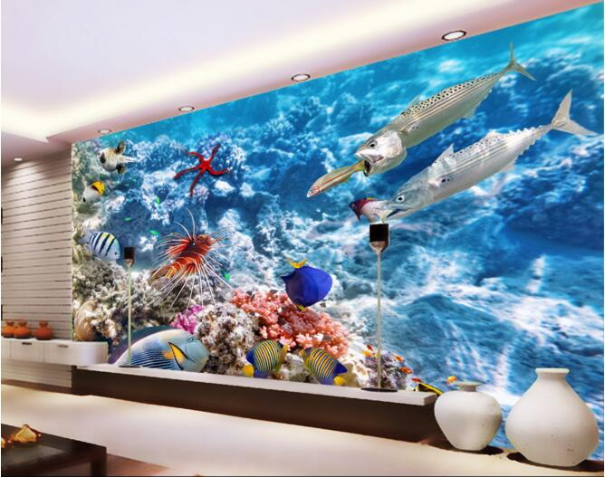 3d Wallpaper Custom Mural Non Woven Wall Sticker 3 D Coral Near Big Fish  Eat Small Fish Painting Photo 3d Wall Murals Wallpaper