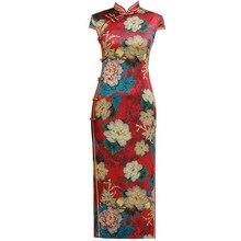 الموضة الصينية التقليدية اليوسفي طوق شيونغسام اليدوية زر الجدة فستان طويل تشيباو كم قصير نحيف M 4XL