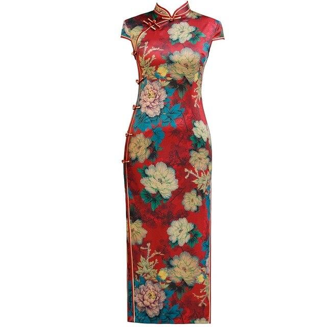 אופנה הסינית מסורתית מנדרינית צווארון Cheongsam בעבודת יד כפתור חידוש שמלת ארוך QiPao קצר שרוול Slim שמלת M 4XL