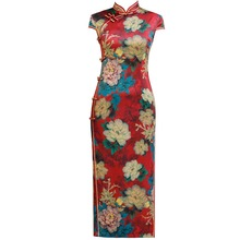 ファッション中国の伝統的なマンダリンカラーチャイナ手作りボタンノベルティドレスロング袍半袖スリムドレス M 4XL