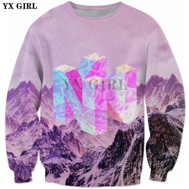b906c18f YX GIRL 2018 New Fashion Mens 3d sweatshirt Nintendo 64 Vaporwave Snowy  Mountain Collection Printed Crewneck Pullovers