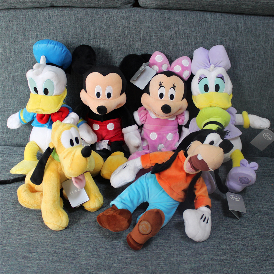 цена на 1pcs Mickey Minnie mouse Donald Daisy Duck Goofy Pluto Dog Pelucia Plush Stuffed Animals Kids Soft Toys for Children Gift