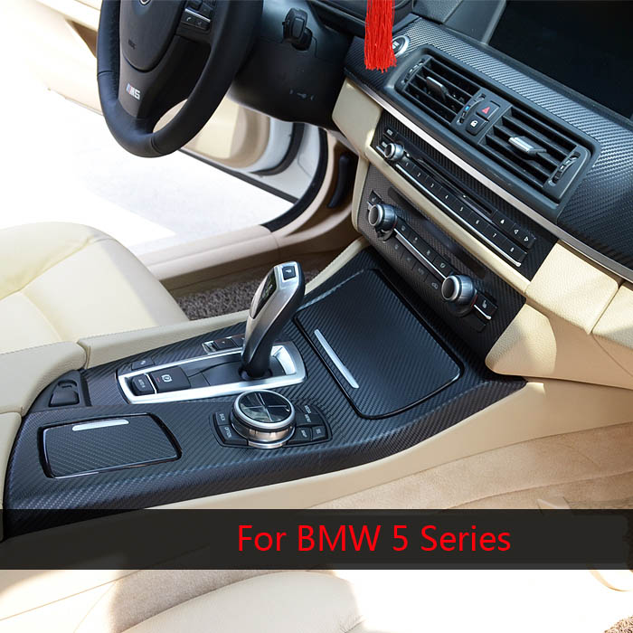 Car Styling Brand New Car Interior Center Console Color Change Carbon Fiber Molding Sticker Decals For BMW 5 Series 525/520