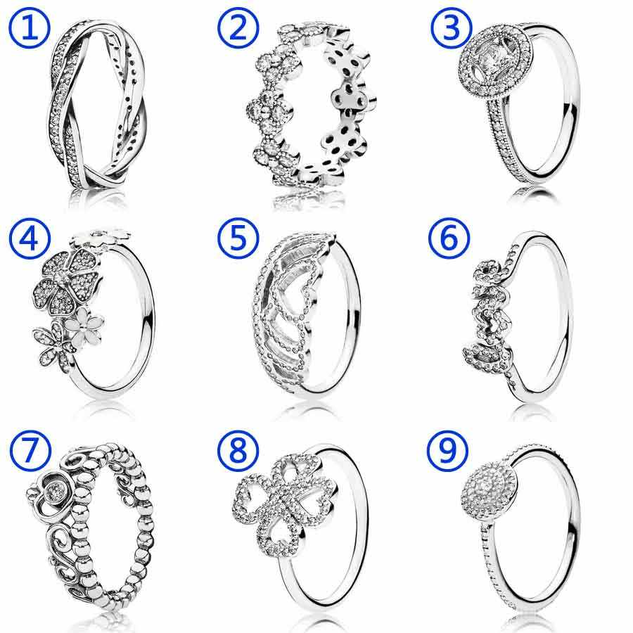 30% Silver Ring Hearts Tiara Princess Oriental Blossom Heart clover With Crystal Ring 925 Sterling Silver DIY Europe Jewelry