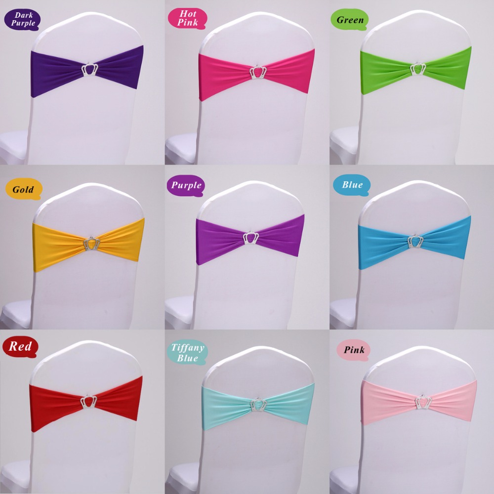 Hot 50pc lot Lycra Wedding Chair Cover Sash Band Crown Knot White Red Blue Gold Pink