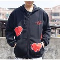 Anime Naruto Cosplay AKATSUKI Red Cloud Coat Hoodies Sweatshirts Free Shipping