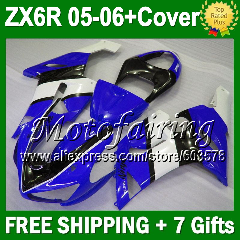 7 подарки + майка для KAWASAKI новая сине бело ниндзя ZX6R 05 06 JM994 ZX 6R ZX 6R 636 ZX636 05 06 2005 2006 синий blk зализа