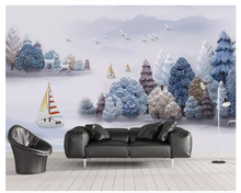 beibehang Custom fashion wall paper 3D three-dimensional embossed landscape artistic painting papel de parede 3d wallpaper